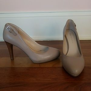Franco Sarto Leather Taupe Heels